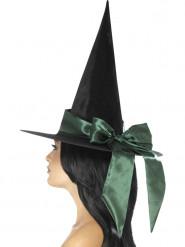 Sort heksehat med grønt bånd Halloween