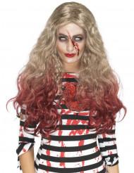 Paryk lang blodigt og blond hår Halloween