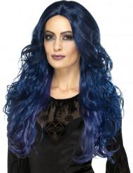 Mørkeblå langhåret paryk