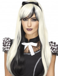 Paryk lang i sort og blond med sløjfe
