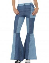 Bukser jean patchwork blå til kvinder