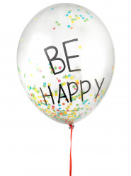 3 stk Be Happy ballon med konfetti