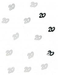 Sølvfarvet konfetti til en 20 års