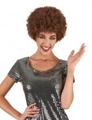 Paryk disco krøllet brun komfort til voksne
