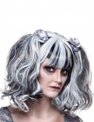 Paryk gotisk hvid og sort til kvinder