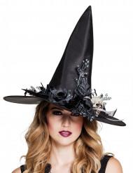Heksehat med dødningehoved til kvinder til Halloween