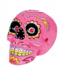 Dekoration dødningehoved pink 20x14 cm Dia de los Muertos