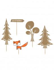 5 stk kagedekoration med skov