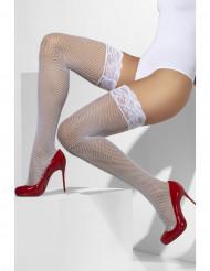 Netstrømper hvide med blonder i silikone til kvinder