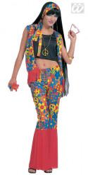 Hippie kostume med farvede blomster kvinde