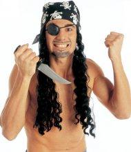 Piratparyk med bandana og øjeklap til voksne