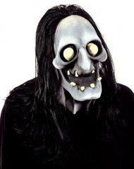 Grinende djævel Halloween latexmaske dæmon grå-beige