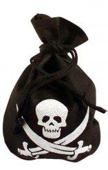 Piratsæk i sort med hvidt dødningehoved