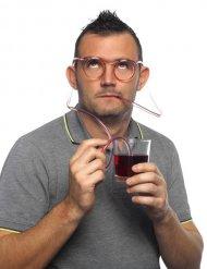 Briller med sugerør transparente til voksne