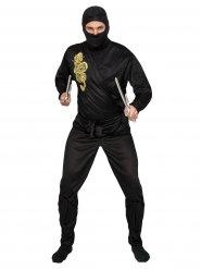 Kostume ninja sort og guld til voksne