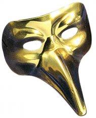 Venetisk maske lang guld næse voksen