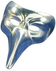 Venetisk maske sølvfarvet med lang næse - voksen
