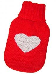 Strømpe til varmedunk rød med hjerte 15x26 cm