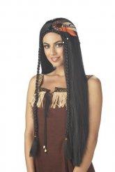 Paryk indianer langt sort hår til kvinder