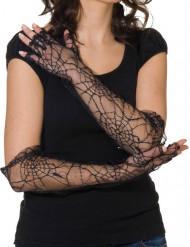 Handsker med spindelvæv sorte