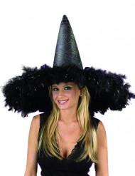 Kæmpe heksehat med sorte fjer