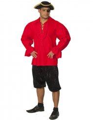 Piratskjorte rød til mænd