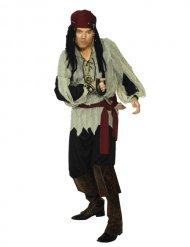 Pirat kostume rød og sort mand