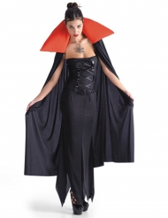 Vampyr kappe i sort og rød til Halloween