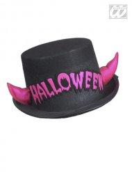 Høj hat sort hat med lysrøde horn Halloween