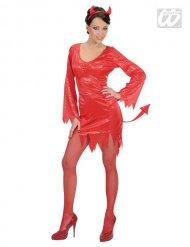 Kostume rød djævel med pailletter til kvinder Halloween!
