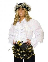 Piratskjorte hvid med kalvekrøs til voksne