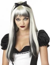 Paryk langhåret i sort og hvid med pandehår