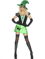Kostume sexet grøn sort heks kvinde