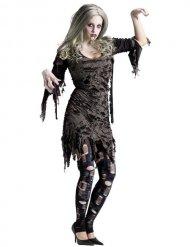 Kostume zombie grå til kvinder Halloween