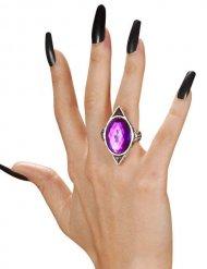 Gotisk heksering med lilla sten