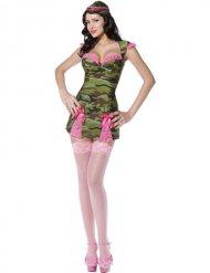 Sexet militær kostume lyserød/grøn - kvinde