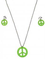 Halskæde og øreringe hippie grønne til voksne