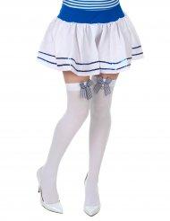 Hvide strømper med sløjfer og ankre til kvinder