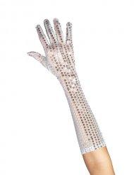 Lange sølvfarvet paillethandsker