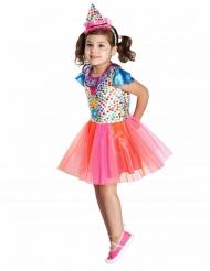 Kostume klovn multifarvet med prikker til piger