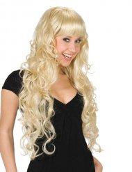 Paryk langt hår med pandehår blond til kvinder