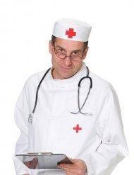 Hovedbeklædning læge rød og hvid