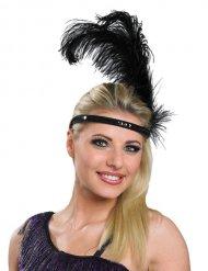 Sort Charleston hårbånd med fjer til voksne