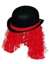 Bowlerhat klovnehat med hår sort og rød