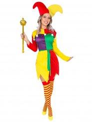 Multifarvet harlekin kostume til voksne