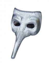 Maske venetiansk lang næse hvid og sølv