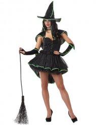 Dette grønne og sorte heksekostume til kvinde