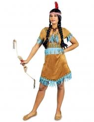 Kostume indianer med tyrkis frynser til kvinder