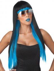 Paryk langt sort og blå hår