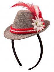 Bayersk mini-hat grå og rød til kvinder
